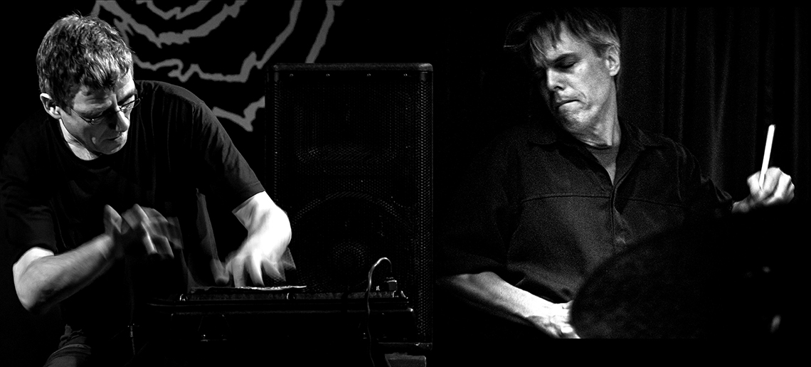 Musicians playing synthesizer and drums