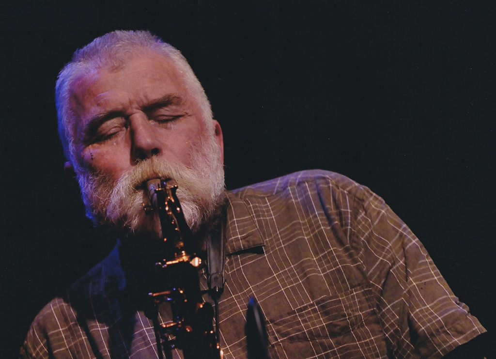 Peter Brötzmann playing saxophone